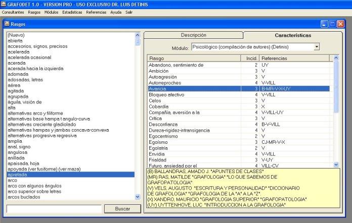 consulta de rasgos características-incidencias-referencias